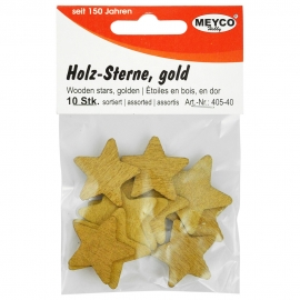 GOLDEN WOODEN STARS 10 PCS - X5 SMALL X5 LARGE