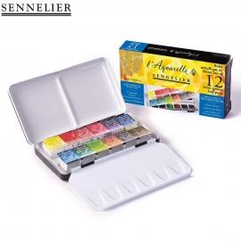SENNELIER 12 ARTIST WATERCOLOUR HALF PANS METAL BOX