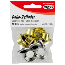 MEYCO GOLD + SILVER DECORATION HATS - 2CM X 2.4CM - 10 ASSTD