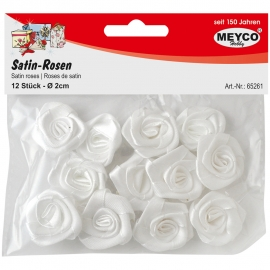 MEYCO SATIN ROSE WHITE 2CM 12 PCS