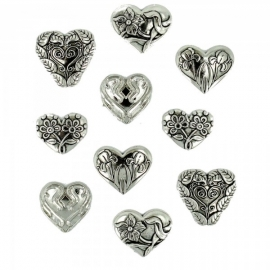 Dress It Up Buttons - Assorted Silver Hearts