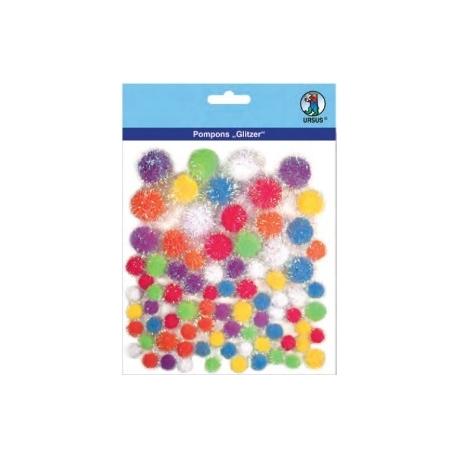 Glitter Pom Poms - Different Colours & Sizes