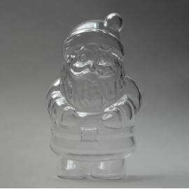 CLEAR PERSPEX SANTA CLAUS - 130MM