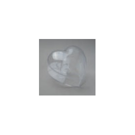 CLEAR PERSPEX BOX HEART - 100MM