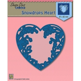 NELLIE'S - SHAPE DIES BLUE - SNOWDROPS HEART